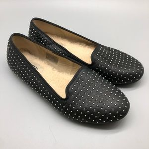 UGG black leather studded shearling loafers